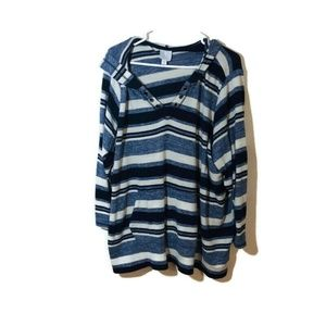 Sunday Blue and White Hooded Striped Top
